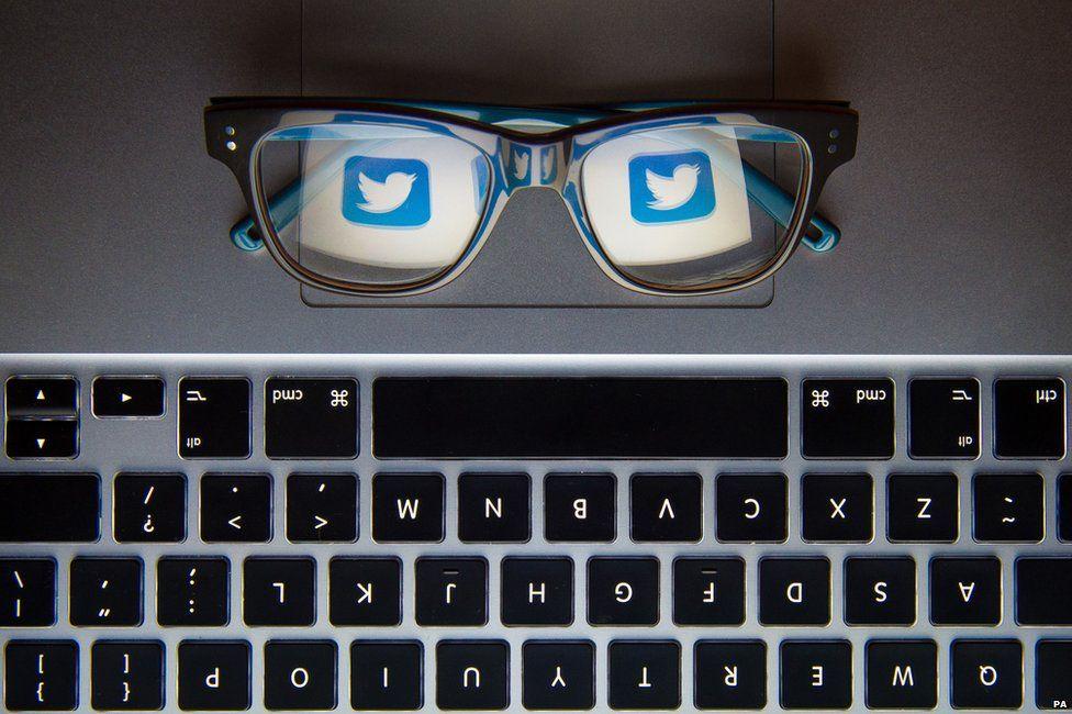 Twitter logo on a keyboard