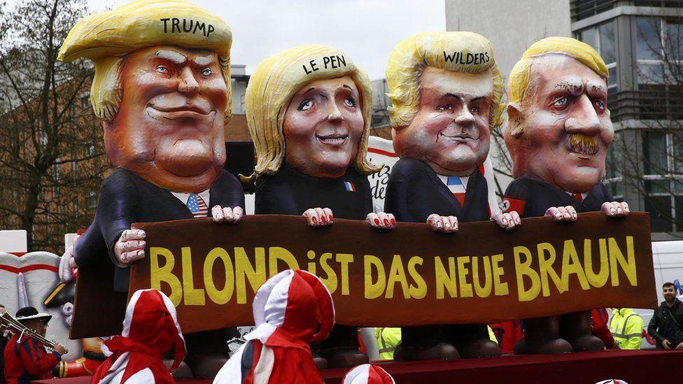 Duesseldorf float mocking nationalists