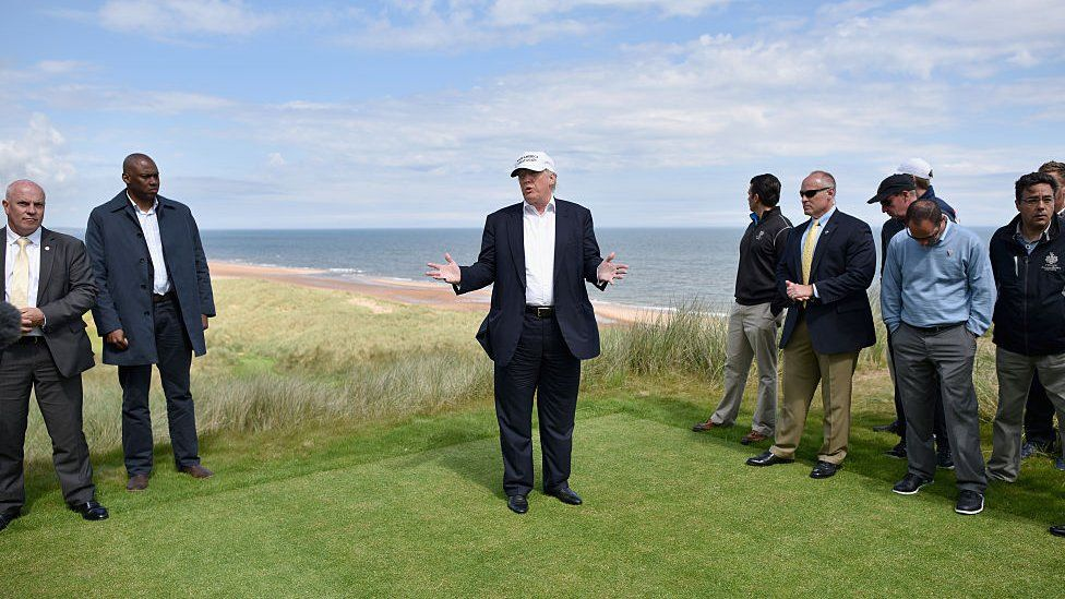 Presumptive Republican nominee for US president Donald Trump visits Trump International Golf Links on June 25, 2016 in Aberdeen, Scotland.