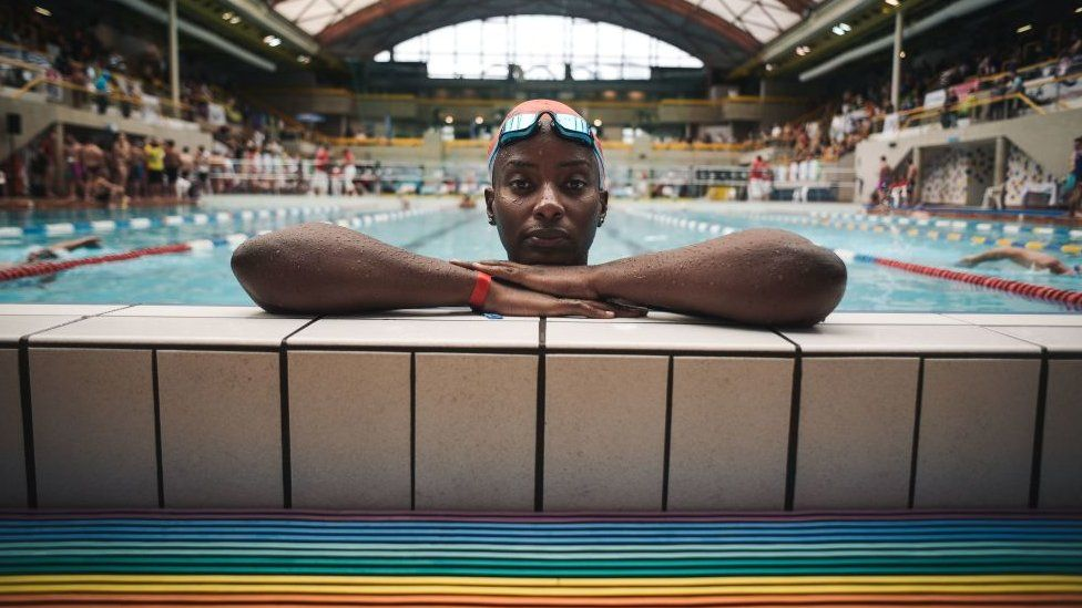 Ugandan swimmer Clare Byarugaba poses during the swimming competition at the 2018 Gay Games