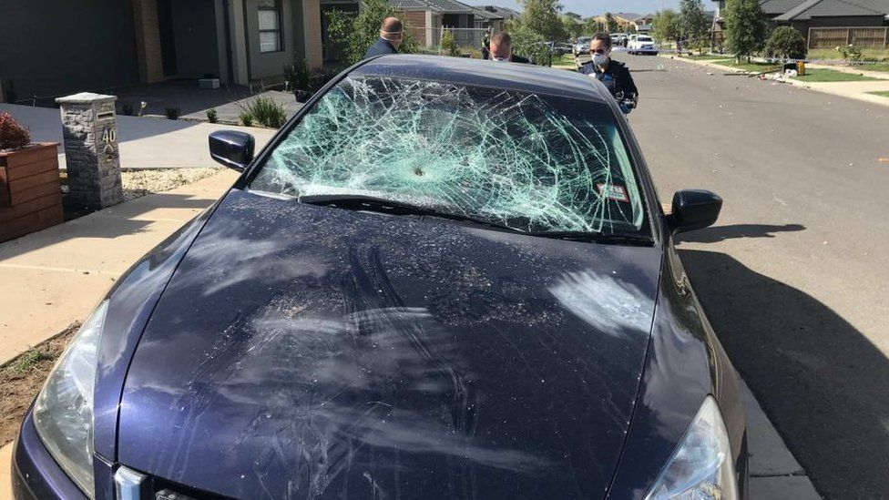 A car damaged during the trashing of an Airbnb house last month
