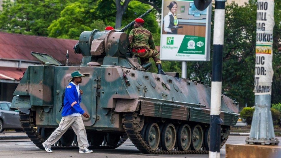 An armed vehicle in Harare
