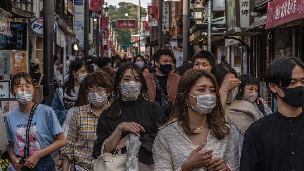 Crowds in street in Japan