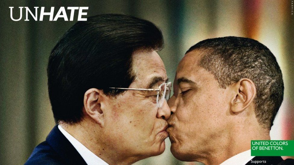 Benetton 2011 advertisement showing American's Barack Obama and China's Hu Jintao.