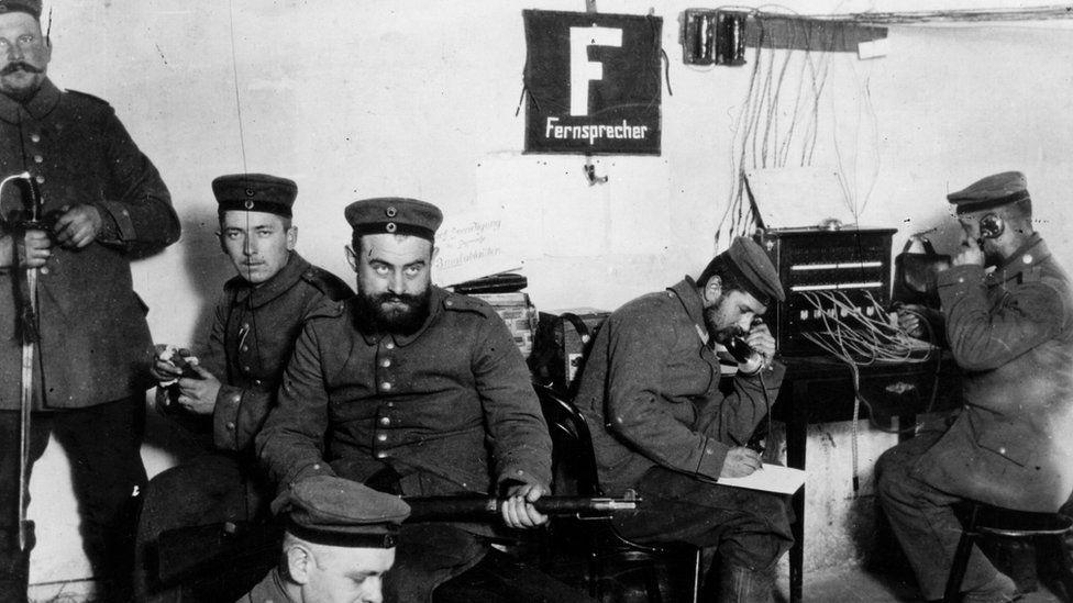 1 October 1914: German field telegraph operators at work in Warsaw