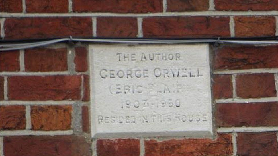 The plaque outside George Orwell's former home
