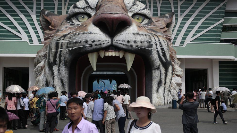 North Koreans wait at the gate of the newly opened Pyongyang Central Zoo in Pyongyang, North Korea, Tuesday, Aug. 23, 2016.