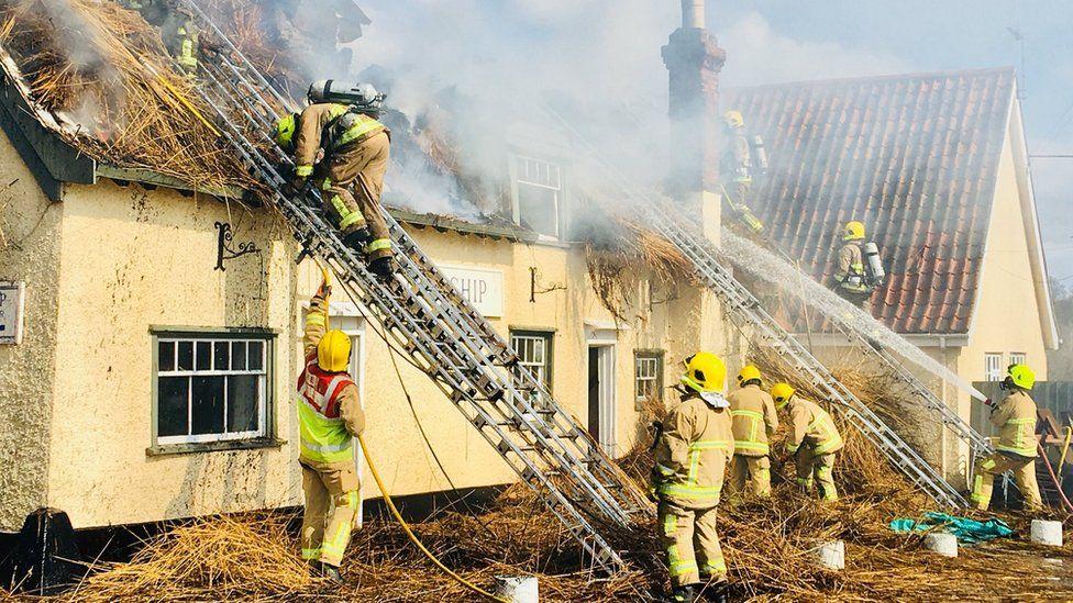 Fire at The Ship Inn, Levington