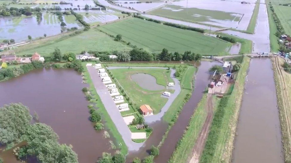 Aerial view of flooding in Wainfleet