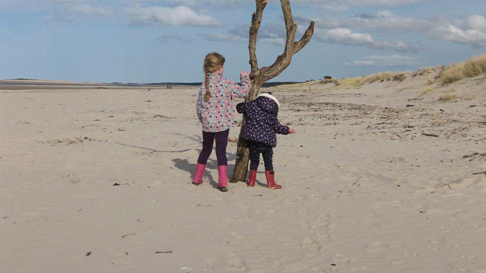 Girls on Nairn beach