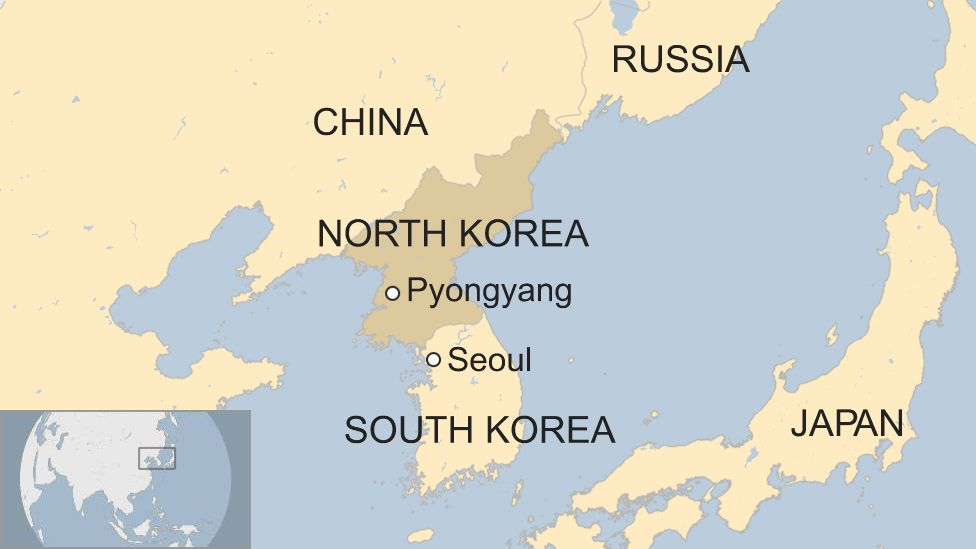 map of South Korea and North Korea