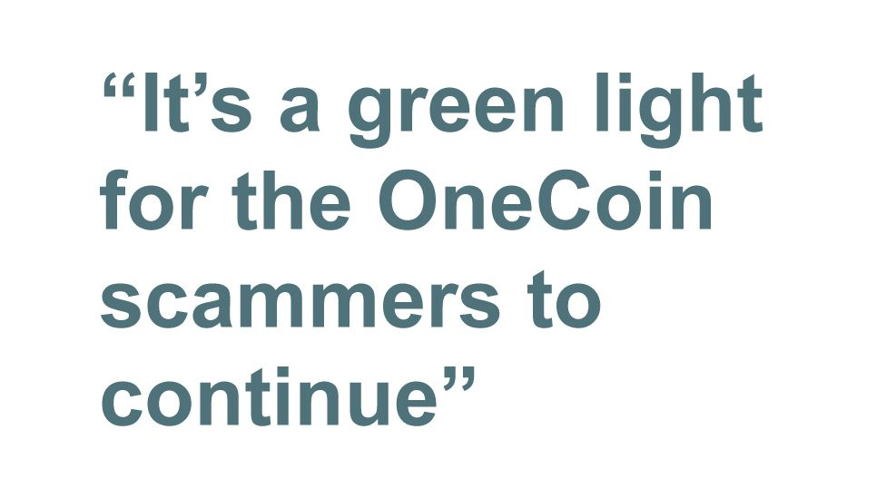 Quotebox: It's a green light for the OneCoin scammers to continue