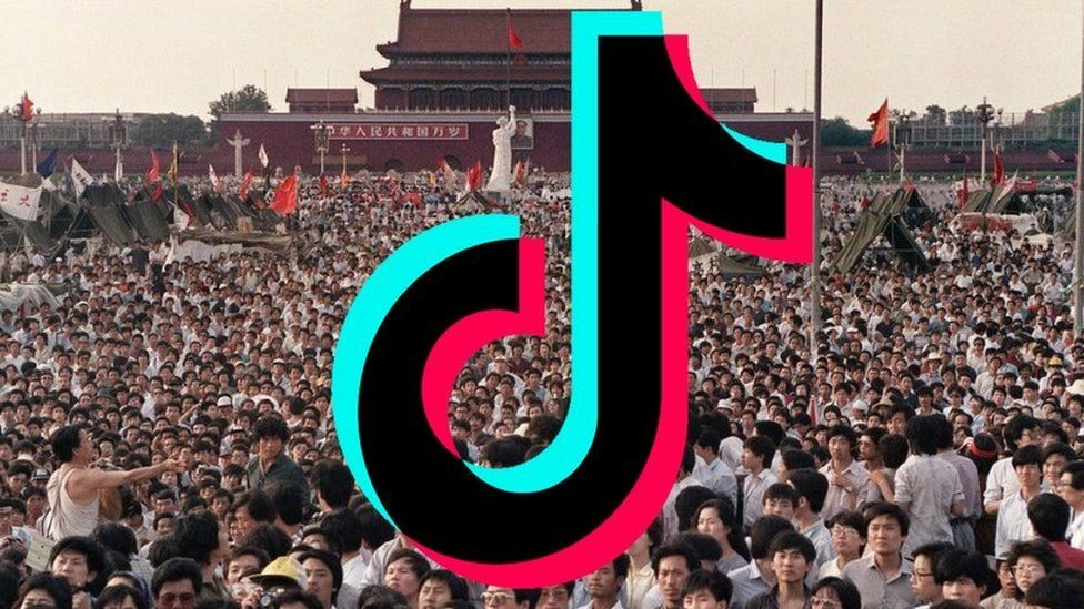 TikTok logo over protests