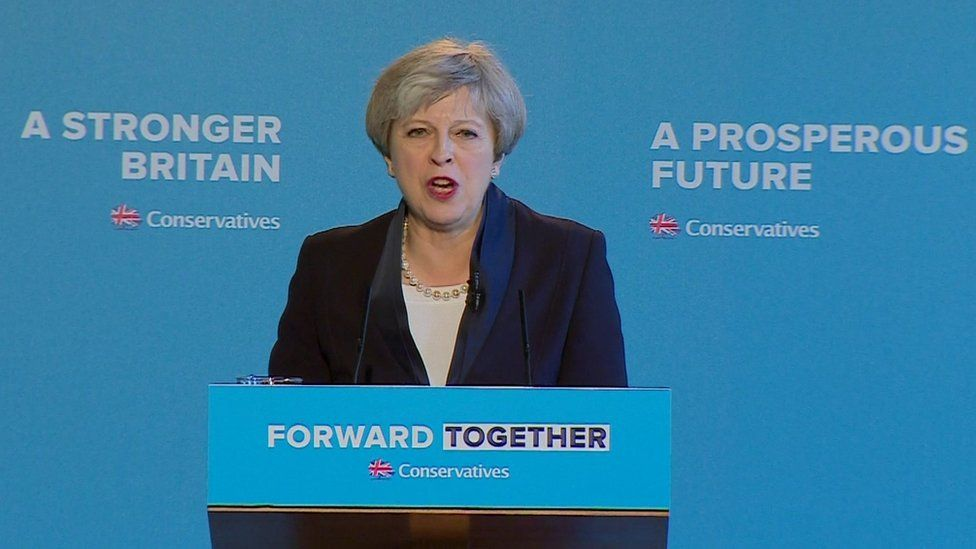 Theresa May at manifesto launch