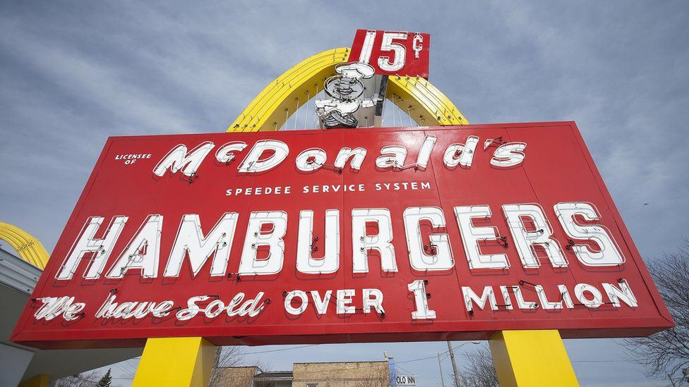 A sign at the replica of the first McDonald's restaurant