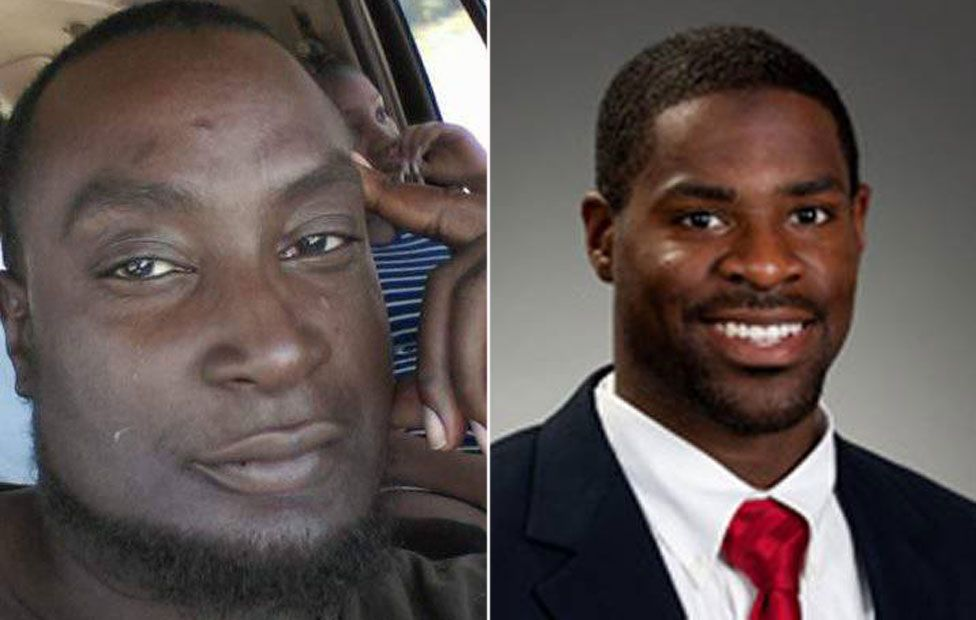 Keith Lamont Scott (L) and Officer Brentley Vinson