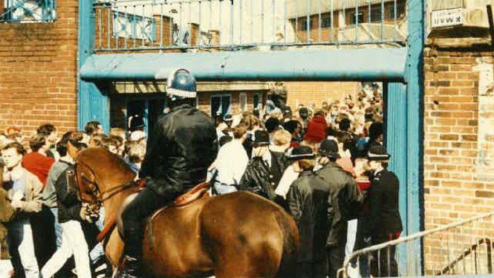 Police horse outside Leppings Lane turnstiles