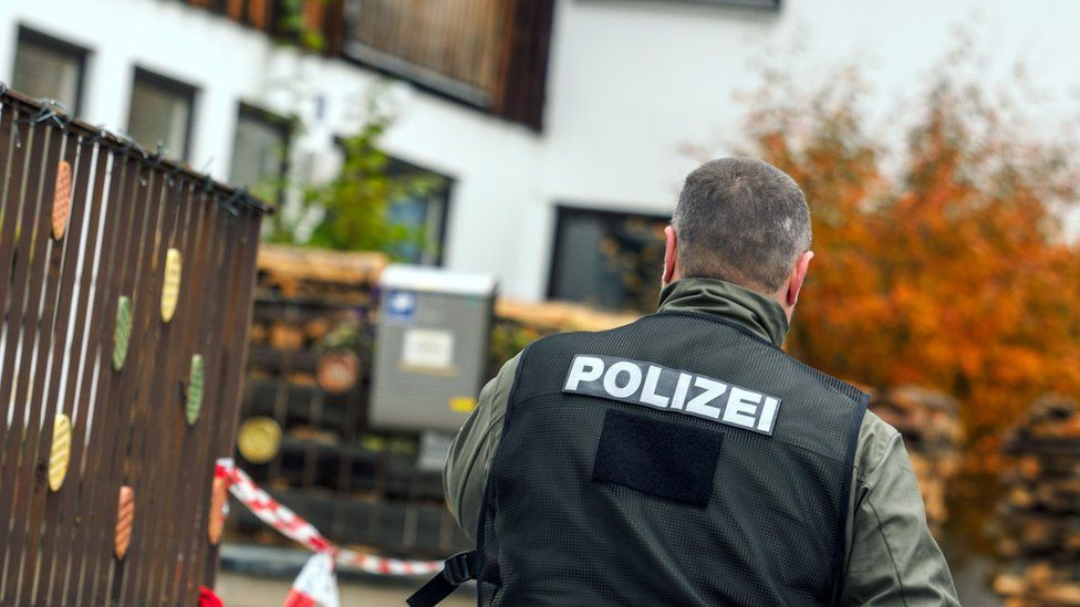 A policeman is pictured on October 19, 2016 in Georgensgmünd, southern Germany