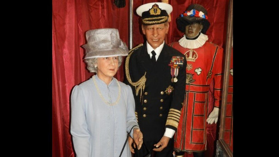 Waxwork models of the Queen and Prince Philip