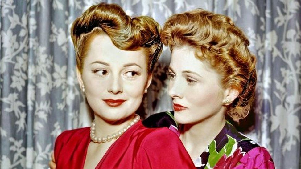 Olivia de Havilland (left) with her sister, Joan Fontaine, circa 1945