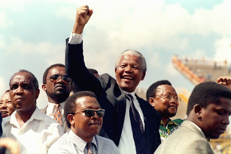 Nelson Mandela at his first election rally in 1994