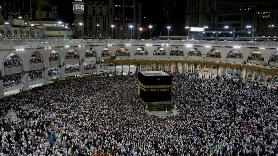 Muslims circle the Kaaba in Mecca's Great Mosque during the Hajj in August 2019