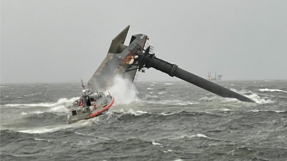 Commercial vessel, reportedly the Seacor Power, capsized