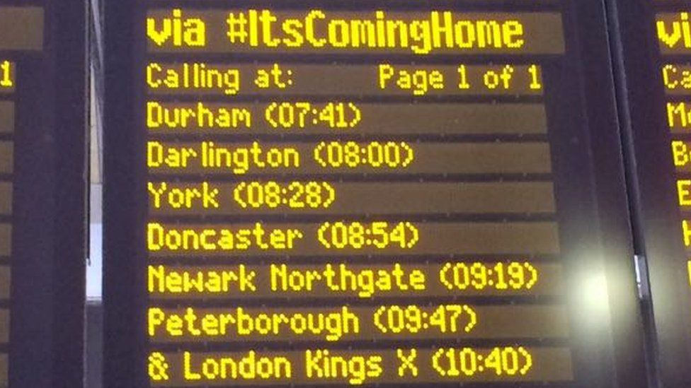 A departure board at Newcastle Central railway station