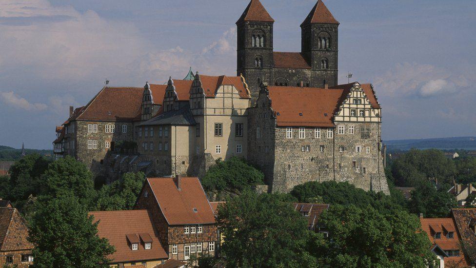The Schlossberg and the church of St Servatius, Quedlinburg (UNESCO World Heritage List, 1994), Saxony-Anhalt, Germany.