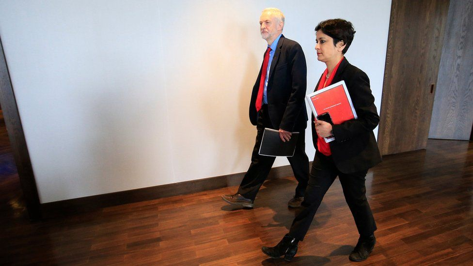 Labour Party leader Jeremy Corbyn, alongside Shami Chakrabarti