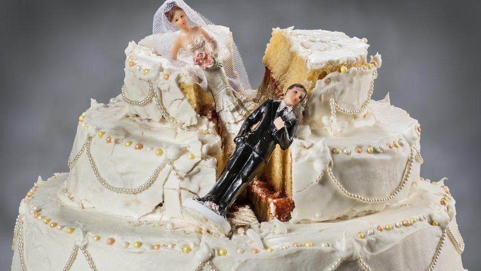 A smashed wedding cake