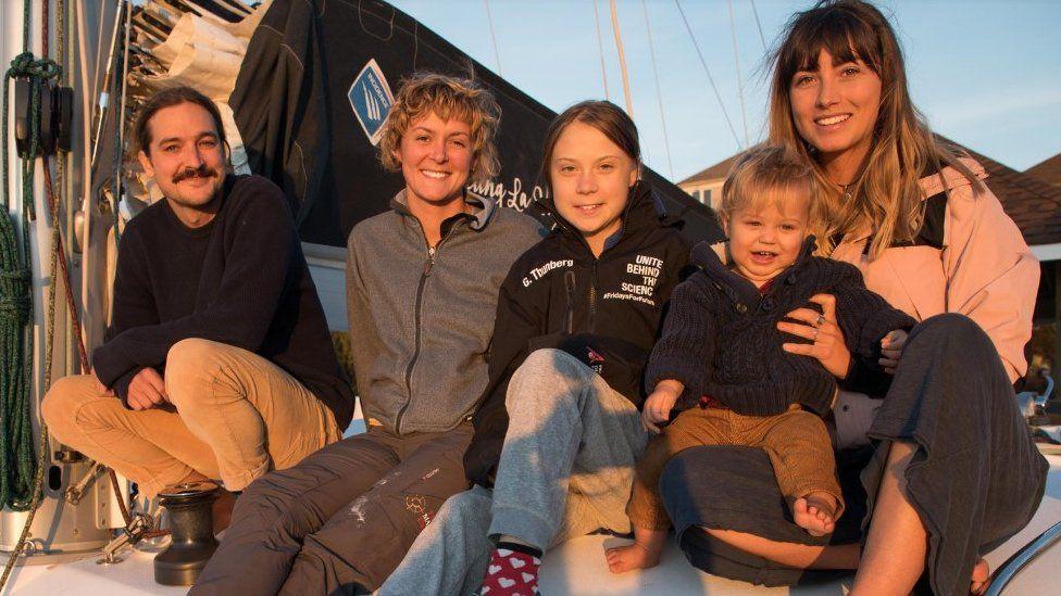 Greta Thunberg on La Vagabonde with Riley Whitlum, Nikki Henderson, Elayna Carausu and baby Lennon