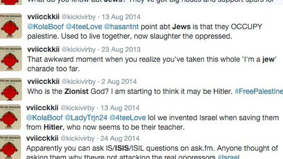 A screen shot, published by the Guido Fawkes website, of tweets published by Vicky Kirby