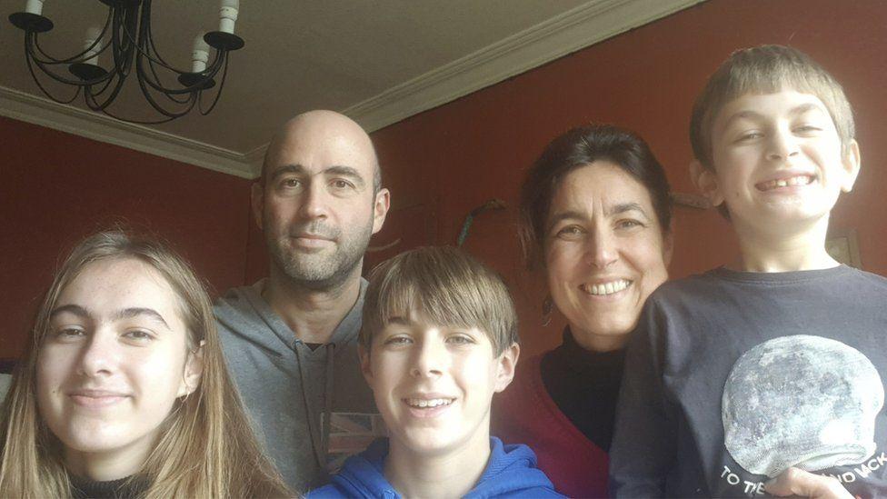 Tasos Konidaris, his wife Aude Lavielle, and children Mathilde, Hector and Alexander