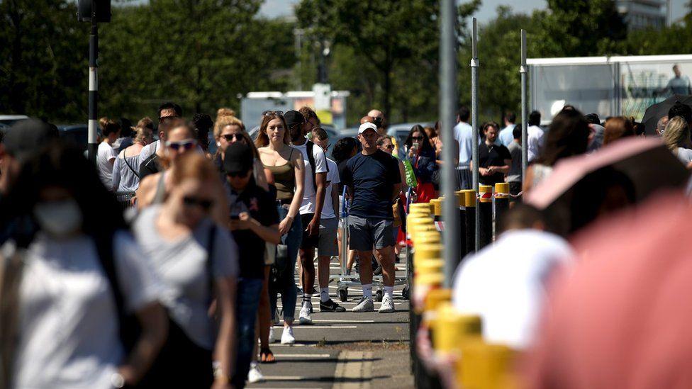 People queue outside of Ikea Greenwich on June 01, 2020 in London