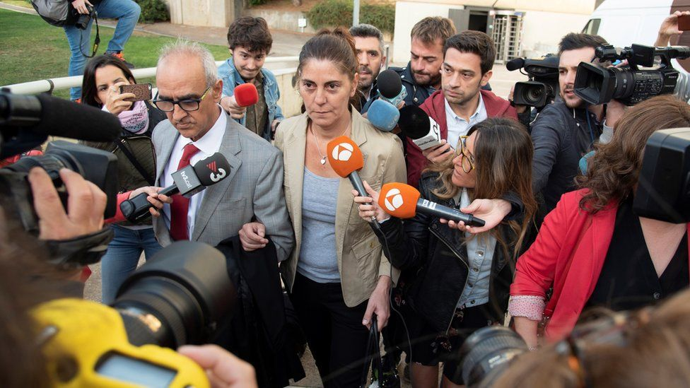 Marga Garau, the wife of Fernando Blanco who was arrested back in 2016 for a scam using his young daughter's rare disease, arrives to court in Lleida, Spain, 02 October 2018.