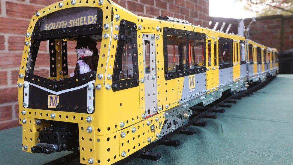 Close-up photograph of the Meccano Metro replica