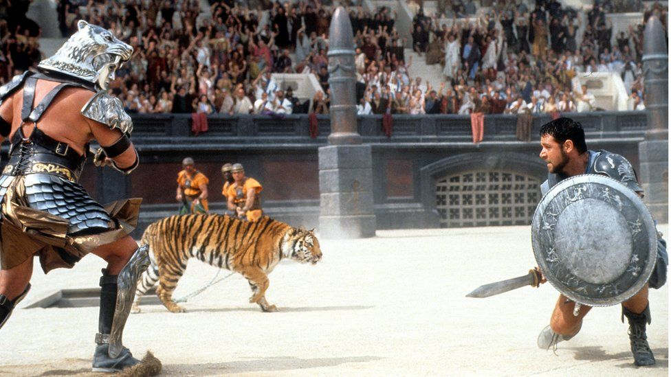 Scene from Gladiator - Maximus fights in the arena