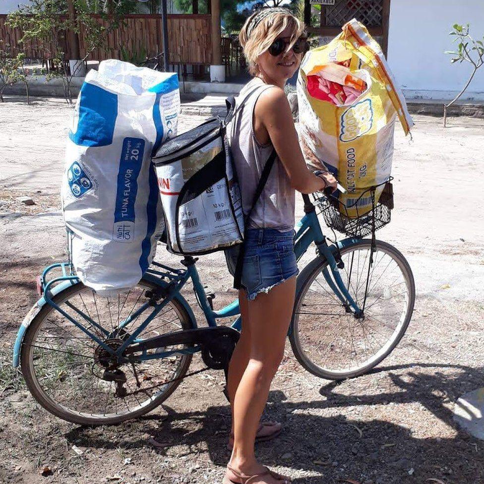 Sian on her bike.