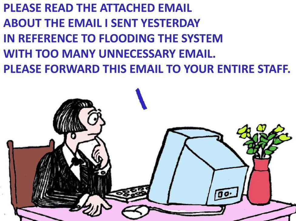 Cartoon about superfluous emails