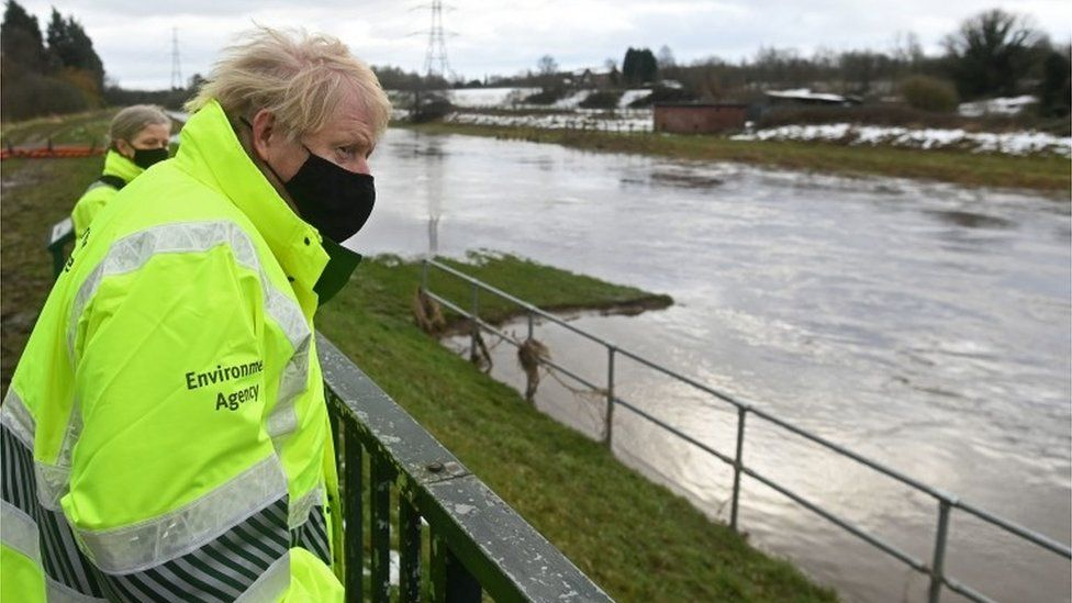 Prime Minister Boris Johnson visited the overflow storage basin alongside the River Mersey