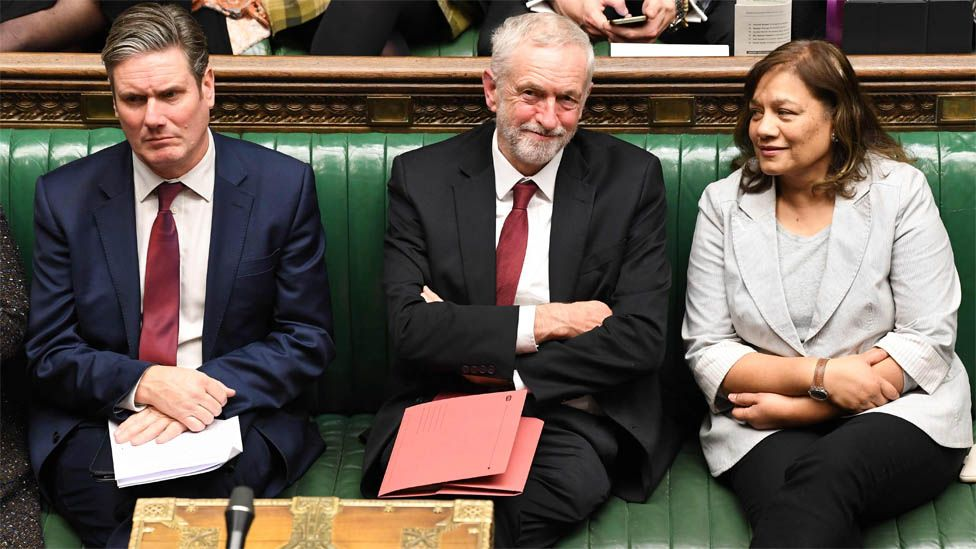Jeremy Corbyn (centre) in the Commons, flanked by Shadow Brexit Secretary Keir Starmer and Shadow Leader of the House Valerie Vaz