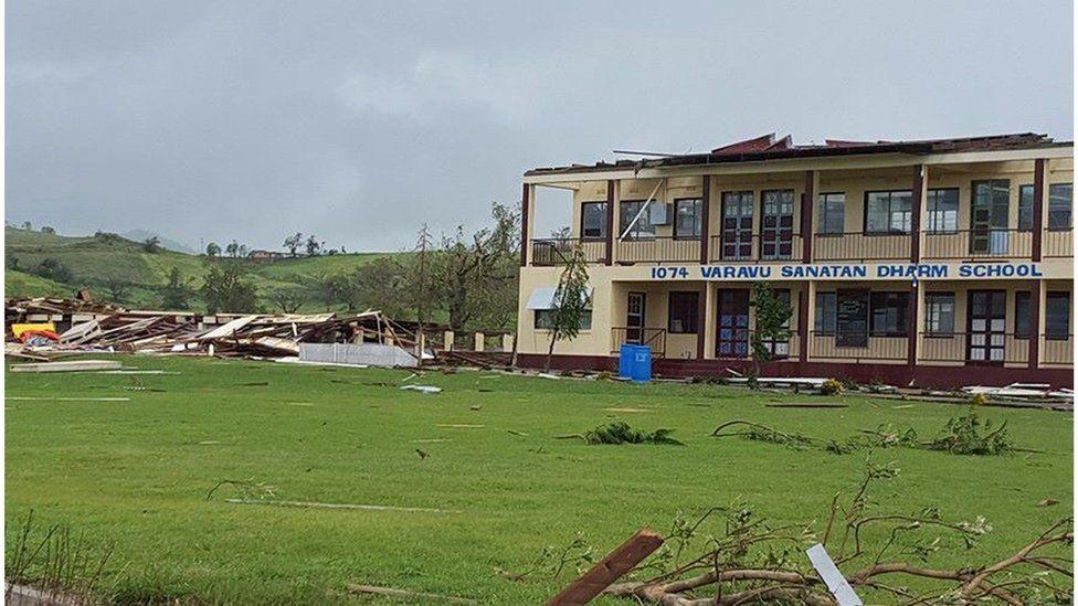 Damage to a school in Ba