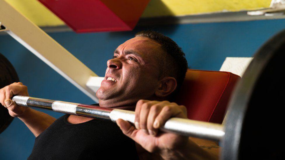 Bodybuilder on the bench press