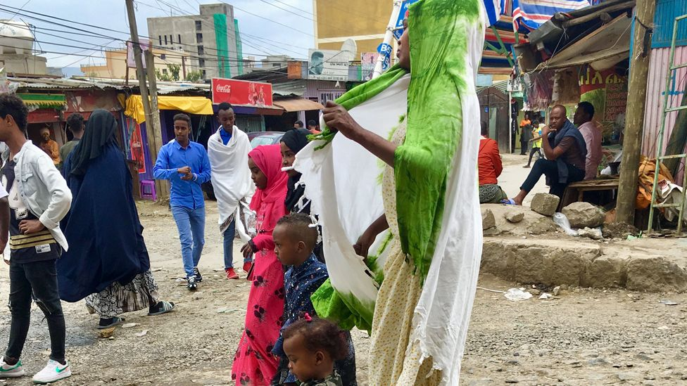 People in the Bole-Mikael neighbourhood of Addis Ababa dressing up for Eid