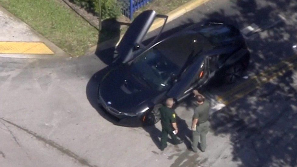 US rapper XXXTentacion's car pictured after the shooting