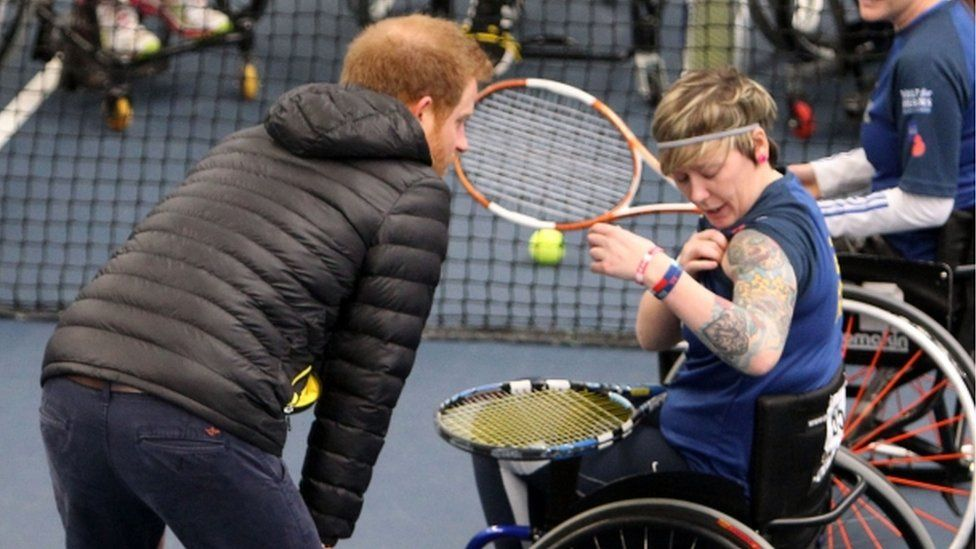 Prince Harry meets tennis players at the trials for the Invictus Games