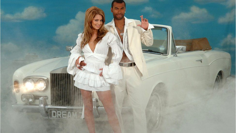 Cheryl Tweedy and her then-husband Ashley Cole promote the National Lottery Dream Number in 2006