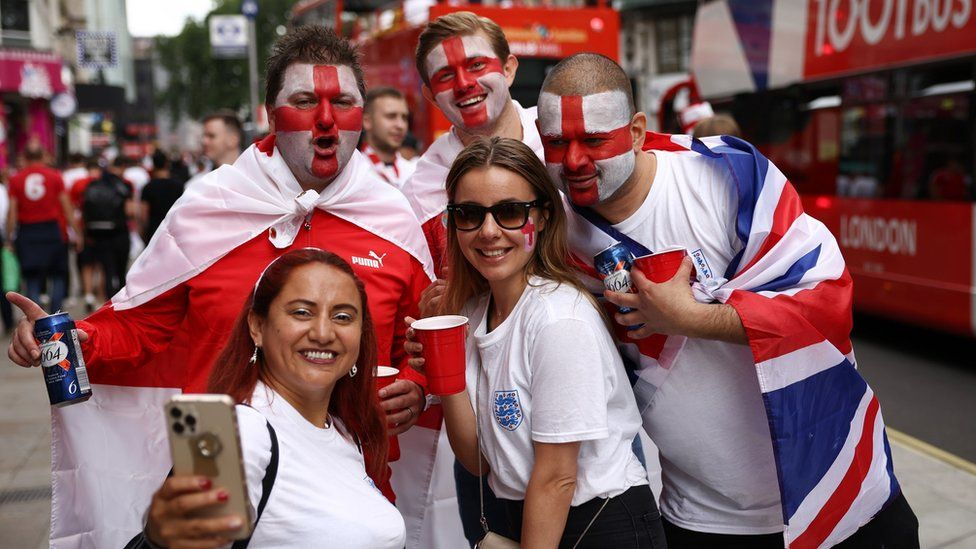 England fans in Leicester Square