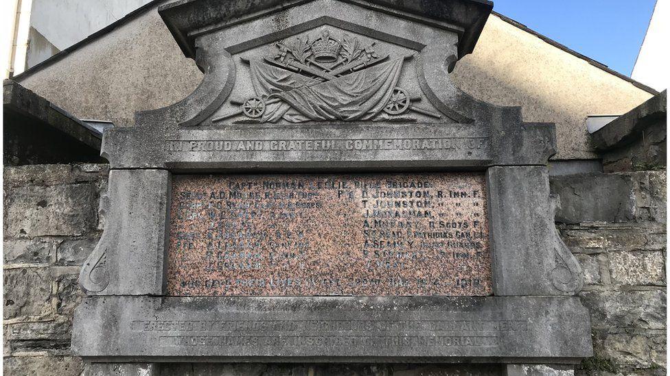 A public memorial in Pettigo records the names of those killed during World War One